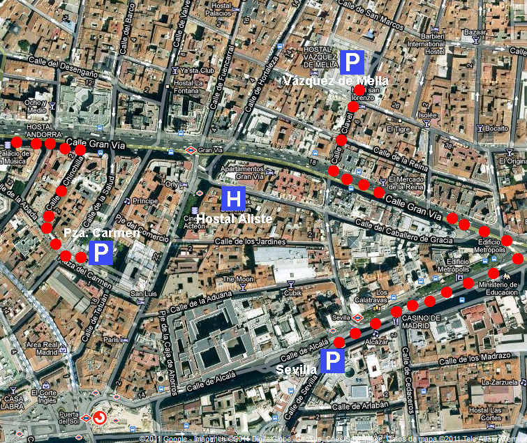 Mapa de parkings cercanos al hostal Aliste Madrid